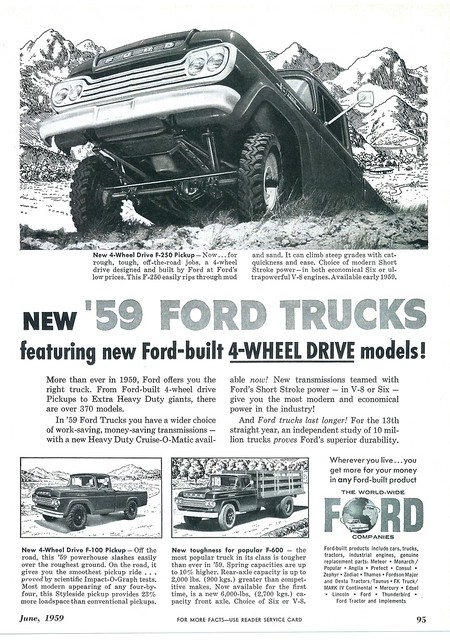 ford wheel truck drive 4x4 4 pickup f100 advertisement 1959 f350 f250