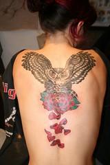Spread Wing Owl Tattoo (Tombstone's Tattoo Gallery) Tags: backtattoos womenwithtattoos tattoowomen owltattoos longislandtattooshops tombstonestattoogallery rosepetaltattoos tombstoneartisans