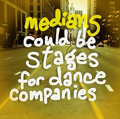 Medians could be stages for dance companies (spudart) Tags: chicago streets fun dance cool funny michiganave concept michiganavenue ideas moderndance coolidea medians 60611 craincommunications dancecompanies conceptualdance danceconcept uploaded:by=flickrmobile flickriosapp:filter=nofilter ideafordance