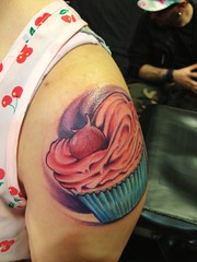 Cupcake tattoo by Wes Fortier