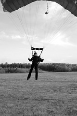 "Boogie Bonanza 2013, Jake landing (B&W) (divemasterking2000) Tags: party sky skydiving flying spring al jump jumping alabama dive diving celebration gathering western april boogie theme skydive canopy themed dropzone parachuting apr sda parachute dz bonanza canopies skyjump gather parachutes skyflying ""western skyfly 2013 skyjumping theme"" ""boogie alabama"" ""skydive bonanza"" themed"""