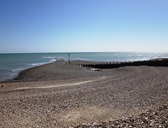 Breakwater in Pagham Harbour (MAClarke21) Tags: blue sea england sky west beach nature landscape sussex coast spring harbour stones south united shingle kingdom selsey breakwater pagham 2013
