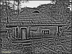 Peasant home in the Romanian Village Museum (cod_gabriel) Tags: bw museum architecture blackwhite romania bucharest bucuresti bukarest roumanie boekarest bucarest vernaculararchitecture villagemuseum muzeu romnia bucureti viilage muzeulsatului bucareste romanianvillagemuseum