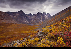 Grizzly Lake, Yukon (Marina Bass (back in NY)) Tags: park autumn trees wild vacation mountain snow canada cold fall colors beautiful clouds forest trekking rocks outdoor exploring tombstone north dramatic fallfoliage ridge explore yukon backpacking valley elements vista northamerica destination backcountry jagged serene outlook difficult wilderness peaks campground heavy untouched viewpoint picturesque monolith magical uninhabited breathtaking tundra active rigged slopes talus subarctic mountainous grizzlycreek tombstonerange grizzlylake tombstoneterritorialpark monolithmountain marinabassphotography grizzlycreekvalley
