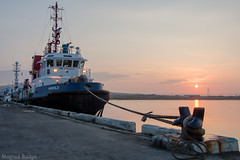 Harald at Sunset (Magnus Budge) Tags: sunset sea sun water pier boat orkney ship harbour rope explore tug hdr kirkwall towage