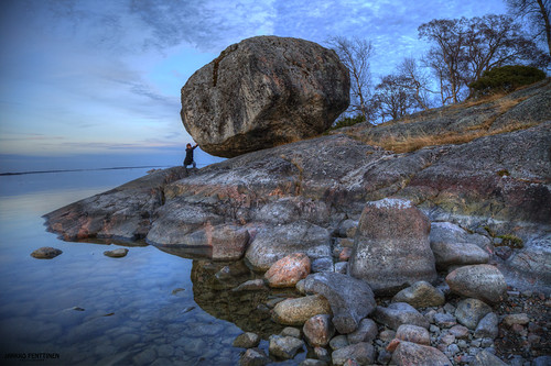 Ice age rock on Brändö sunset landscape