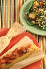 chipotle-vegetable tamales & quinoa salad with black beans and mango (Paige MacKenzie) Tags: food cooking vegetables fruit dinner lunch salad vegan beans healthy corn grain fresh delicious mexican health mango vegetarian quinoa diet blackbeans salsa chipotle tamale ancientgrain cornhusks veganomicon