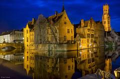 Reflections on Brugge (d2francis2) Tags: water reflection light buildings architecture bridge evening classic dusk bluehour blue brugge belfort belgium bruges longexposure sony a7r twilight