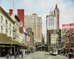 Cortlandt Street, NYC, 1908 Recolored (themaskedman55) Tags: new york city cortland street colored recolored colorized colorised black white photo shorpy world trade center singer building skyscraper streetcar