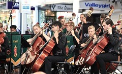 St Pauls string section, Queen Street Mall, (Photos by Lance) Tags: musicexpress musical brisbanequeensland musicalinstruments music stpaulscollege brisbanequeenstreetmall yamahamusic brisbanecbd cello violin strings