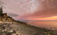 Look Behind You (Note-ables by Lynn) Tags: sunrise sunsetssunrises skies clouds stlawrenceriver quebec shorelines