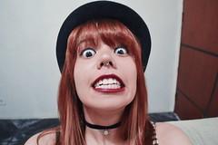 hey (scarhcp) Tags: redhead red ginger bangs choker spaceship makeup lipstick weird eyes