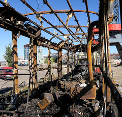 burned out tram (wojofoto) Tags: amsterdam tram ndsm wojofoto wolfgangjosten