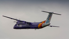 FlyBe Dash-8 rocketing out of Amsterdam for Birmingham (Nicky Boogaard Photography) Tags: aviation klm surinam airways british airbus boeing bombardier rosenbauer eone tap portugal easyjet firefly schiphol amsterdam a350 singapore airlines 789 787 flybe embrear e175 777 767 icelandair schiphol170916