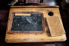 Pioneer Schoolhouse (Scott Sanford) Tags: school student desk chalkboard book wood weathered historic old antique worn museum travel trip vacation summer colorado montrose color canon eos ef2470mmf28lusm 6d topazlabs