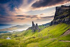 The Old Man of Storr (modesrodriguez) Tags: oldmanofstorr storr quirain scotland skye island clouds sunset orange landscape rockformation three
