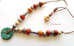 Collar tnico (De nudos y cuentas) Tags: arcilla polimrica polymer clay marfil coral turquesa imitacin tnico collar