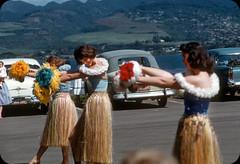 Hula Dance on Ford Island, Honolulu, Hawaii  1950s (ElectroSpark) Tags: vintage photos slides hawaii military aircraftcarrier wwii koreanwar tiki hula girls