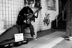 Plasticwood Metro Subway - Musicians - BW (Real Dolls of Plastic Wood) Tags: doll photography barbie ken action figure homme 16 scale diorama street urban train subway