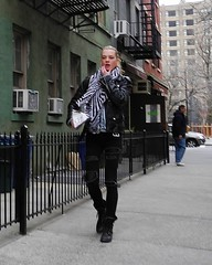 zebra scarf (omoo) Tags: newyorkcity girl boots westvillage streetscene blonde greenwichvillage beautifulgirl bikerjacket blackboots blackleatherjacket dscn8178 zebrascarf hudsonstreetnearstlukesplace
