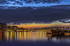 Lake Union Sunset (clarsonx) Tags: seattle city longexposure bridge sunset lake reflection water clouds boats washington unitedstates lakeunion bluehour aurorabridge hdr