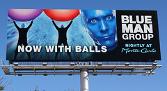Can Anyone Confirm They're Blue? - Las Vegas, NV (tossmeanote) Tags: las vegas blue orange man face canon hotel paint with purple outdoor group ad balls casino billboard advertisement advert carlo monte now bluemangroup connell bmg 24105 2013 60d eosa tossmeanote