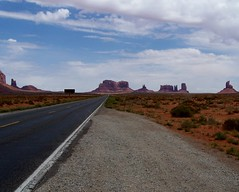 Two Lane Blacktop (Nitroexpress15) Tags: auto road travel arizona sky monument nature car clouds america landscape drive highway desert perspective scenic dramatic national monumentvalley desolate blacktop byway twolane 2lane