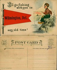 I'll go fishing with you in Wilmington, Del. Any old time! (Delaware Public Archives) Tags: boy water illustration fishing pennant