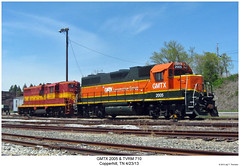 GMTX 2005 & TVRM 710 (Robert W. Thomson) Tags: railroad train diesel tennessee railway trains locomotive trainengine geep ncsl copperhill emd gp382 gp38 gatx gp7 ncstl tvrm gmtx fouraxle nashvillechattanoogaandstlouis
