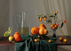 Color Is Vibration. (Esther Spektor - Thanks for one million) Tags: blue light red stilllife food orange brown color reflection green art texture glass leaves yellow metal wall fruit c