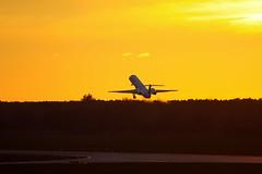 Air France Embraer Silhouette (Gyroh) Tags: sunset airport sonnenuntergang hannover landing flughafen hanover haj embraer erj langenhagen eddv