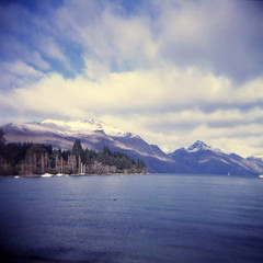 (mister sullivan) Tags: travel newzealand snow mountains film water square lens holga lomo adventure plastic queenstown