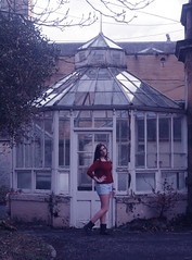 Prislla (Rachel Keeeeelly) Tags: red house abandoned glass girl hospital happy photography photoshoot conservatory lips creepy portraiture pout brazilian jumper modelling portuguese