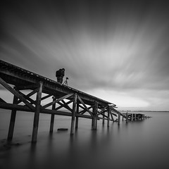Time (Scott Baldock) Tags: old uk sea blackandwhite seascape motion blur abandoned thames clouds reflections square island pier seaside nikon long exposure jetty estuary crop format essex lightroom southendonsea canvey nd110 nd106 d7000