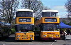 MBR09 Metrocentre Bus Rally - Two PTE Atlanteans (HairyHippy) Tags: uk england film analog 35mm silver pentax unitedkingdom superia traditional gateshead fujifilm routemaster analogue dennis daimler chemical leyland asa400 bromide mesuper xtra tyneandwear metrocentre fujicolor atkinson aec busrally halide preservedbuses c41developer fujihunt