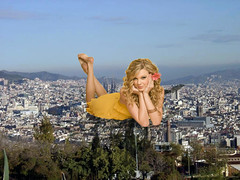 Just Taylor laying on a city (joe117able) Tags: yellow pretty dress down barefoot taylor swift mega giantess laying