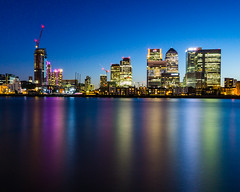 Waterfront (Ian Allon) Tags: longexposure england london tower water thames zeiss skyscraper reflections river unitedkingdom sony gb leefilters a6000 littlestopper caranrywharf
