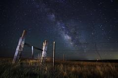 Last Light (Geometric Visuals) Tags: star stars nature sky time lapse fence light lights lightpainting long exposure longexposure milkyway grass valley