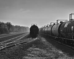 Tank Cars (ramseybuckeye) Tags: railroad rails rail road proctor gmble lima allen county ohio tank cars old pennsylvania rr penn central morniing fog dew black white pentax art