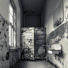 rest of a rest room (bocero1977) Tags: lines building window old sink germany washbowl moody light toilet abandoned blackwhite restroom dirty scenery room architecture bw graffity door fineart inside