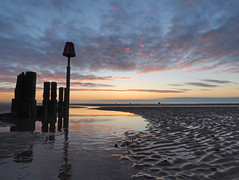 C (Steve Farrow Photography) Tags: cleethorpes sunrise humber water beach sand groin pier jetty sea sky clouds colour boat fishing ripples dawn light buoys