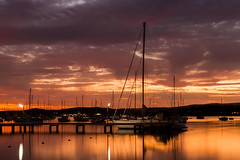 After Dark Hues FB (Sterling67) Tags: valentine sunset water lakemacquarie reflections boat yacht clouds