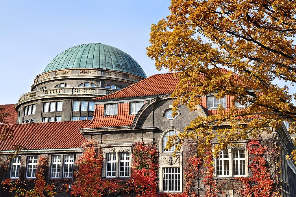 Universität Hamburg, Hauptgebäude, Edmund-Siemers-Allee 1, Nord-Ost-Seite, herbstlich
