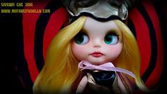 Princess Elzebub (Motor City Dolly) Tags: custom blythe doll ooak blonde yellow hair shaw brothers super inframan princess dragon mom dragonmom elzebub helmet demon