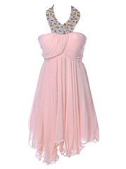 Homecoming Dress (provencelavender) Tags: glamorous aline halter short empire pink chiffon homecoming dress with beading
