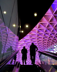 lattice #031 (Harry Halibut) Tags: 2016andrewpettigrew allrightsreserved imagesoflondon images londonarchitecture londonbuildings colourbysoftwarelaziness publicartinlondon public art kings cross station new booking hall purple mauve violet organic pattern escalator people silhouette light geometric london x1608230031