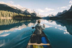 Paddling Maligne Lake. (Bokehm0n) Tags: landscape nature vsco explore flickr earth travel folk 500px canada vscofilm snow mountain water lake reflection scenic ice winter recreation outdoors glacier cold valley adventure river daylight