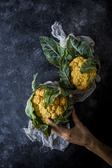 Styling a Cauliflower (saraghedina) Tags: cauliflower yellow produce foodphotography foodstyling foodprep food vegetarian vegetables veganlife chiaroscuro color rustic blue hand canon 50mm highangleview highcontrast