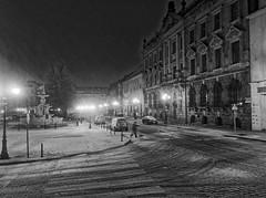 Late evening on White Eagle Square, Stettin-Szczecin, December, Poland. (TomasLudwik) Tags: plac orla bialego white eagle square stettin night handheld photography bw blackandwhite