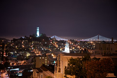 View from Top of Lombard St. (pixelmepretty22) Tags: sanfrancisco california coittower baybridge